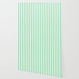 Large Mint Green and White Vertical Cabana Tent Stripes Wallpaper