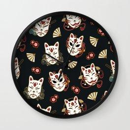 Kitsune Mood Masks Wall Clock