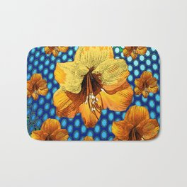 YELLOW-ORANGE AMARYLLIS FLOWERS ON BLUE ABSTRACT Bath Mat