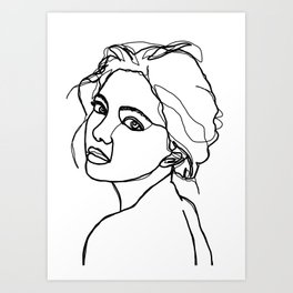 Woman's face line drawing - Adena Art Print