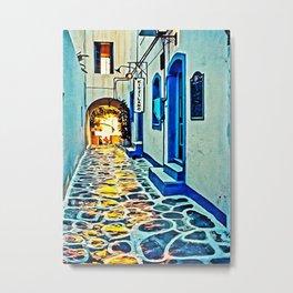 Mykonos Deserted Hallway Metal Print