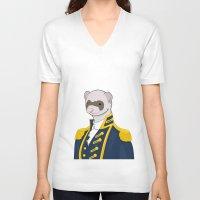ferret V-neck T-shirts featuring Captain Ferret by Szilárd A Legjobb