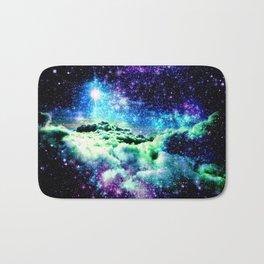 Galaxy Clouds Blue Purple Green Bath Mat