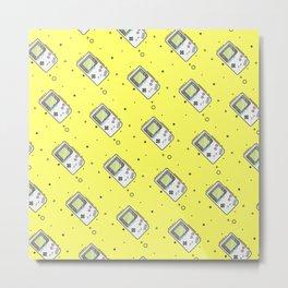 Gameboy Pattern Yellow Metal Print