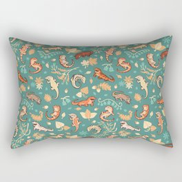 Autumn Geckos in green Rectangular Pillow
