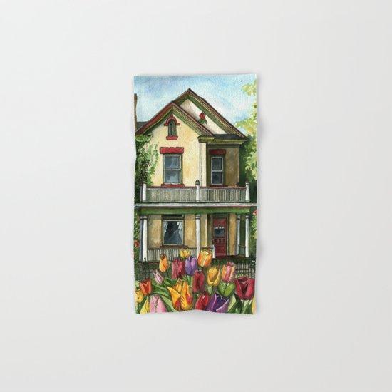 Farmhouse with Spring Tulips Hand & Bath Towel