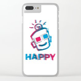 3D HAPPY Clear iPhone Case