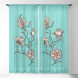 Whimsical illustrated Indian floral neon teal Sheer Curtain