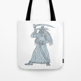 Ankou Henchman of Death With Scythe Drawing Tote Bag