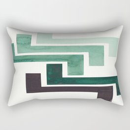 Deep Green Pattern Mid-century Modern Simple Geometric Pattern Watercolor Minimalist Art Squares Rectangular Pillow
