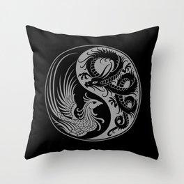 Gray and Black Dragon Phoenix Yin Yang Throw Pillow