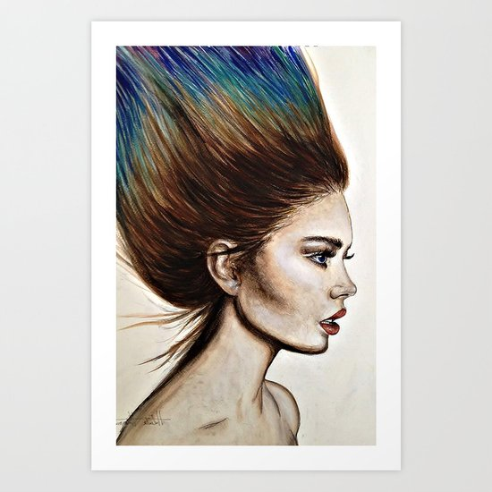 Ombre Hair (Mirror) Art Print
