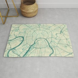 Moscow Map Blue Vintage Rug