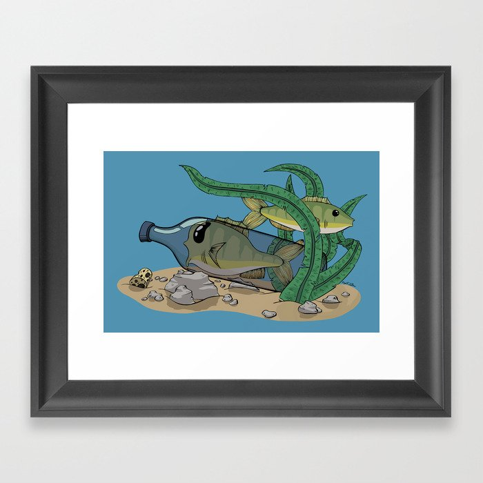 The Fish and the Bottle Framed Art Print