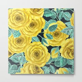 Yellow watercolor roses with leaves and buds pattern Metal Print