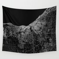 ohio Wall Tapestries featuring Cleveland map Ohio by Line Line Lines