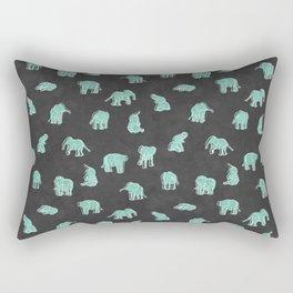 Indian Baby Elephants Black/Mint Rectangular Pillow