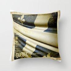 Quebec (Canada) grunge sticker flag Throw Pillow