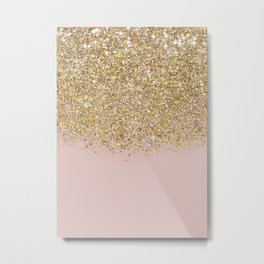 Pink and Gold Glitter Metal Print