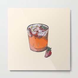 Strawberry chamomile paloma, cocktail, cocktails, beverage Metal Print