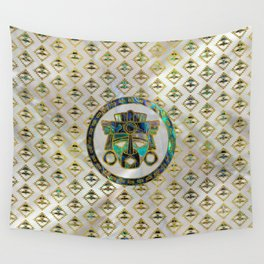 Tribal Ethnic  Mask Gold on Abalone Shell and Pearl Wall Tapestry