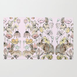rabbits and flowers with color Rug