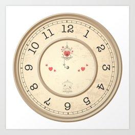 Wall clock heart Art Print