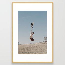 The Race of Gentlemen Flag Girl Framed Art Print