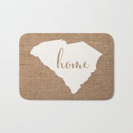 South Carolina is Home - White on Burlap Bath Mat
