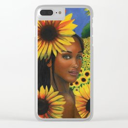 Summertime Sunflowers Clear iPhone Case