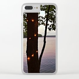 String Lights at Sunset on Lake Pemaquid in Damariscotta, Maine (2) Clear iPhone Case