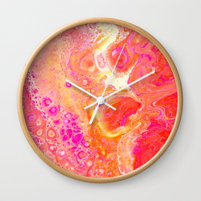 Happy Day - Pink and Orange Abstract Painting Wall Clock