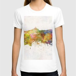 Coimbra skyline in watercolor background T-shirt