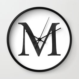 Letter M Initial Monogram Black and White Wall Clock