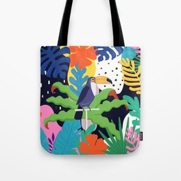 Bold Tropical Jungle Abstraction With Toucan Memphis Style Tote Bag