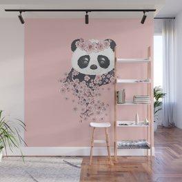 Panda face and Sakura Wall Mural