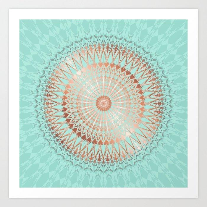 Rose Gold Mint Mandala Art Print