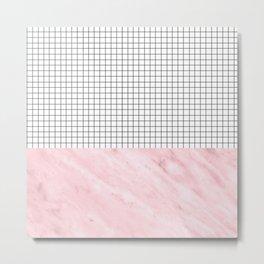 Modern Pink Granite on Grid Metal Print