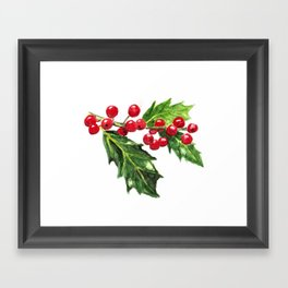 Holly Branch with Berries Framed Art Print