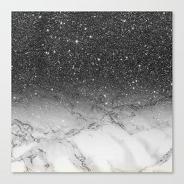 Stylish faux black glitter ombre white marble pattern Canvas Print