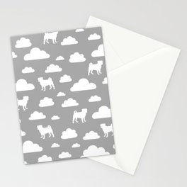 Pug Clouds - Grey Stationery Cards