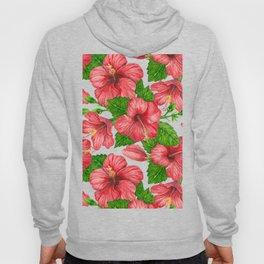 Red hibiscus watercolor pattern Hoody