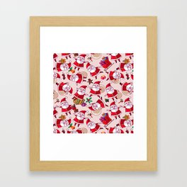 Santa Gift Pattern Framed Art Print