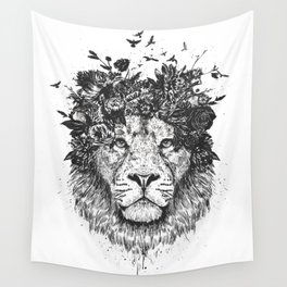Floral lion (b&w) Wall Tapestry