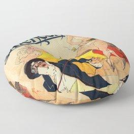 Folies Berg Res Emilienne D Alen On 1900 By Jules Cheret | Reproduction Art Nouveau Floor Pillow