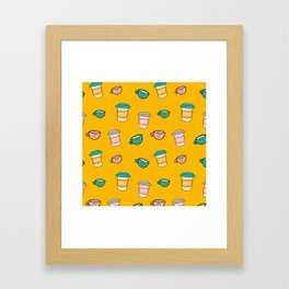 Happy coffee cups and mugs in yellow background Framed Art Print