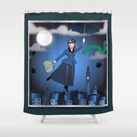 mary poppins Shower Curtains featuring Mary Poppins by Vannina