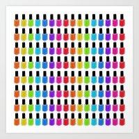 nail polish Art Prints featuring Nail Polish Rainbow by Tikwid