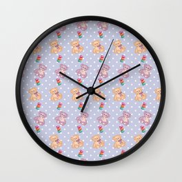 Cute Teddy Bear and Macaron Pattern Wall Clock