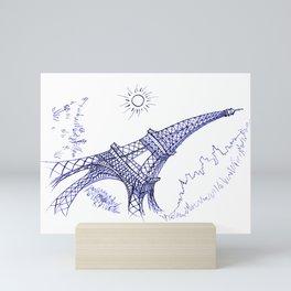 Eiffel Tower in Blue Mini Art Print